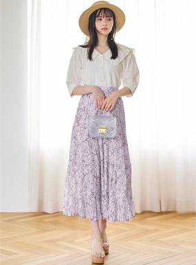 花柄プリーツティアードスカート