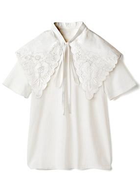 パンチレースリボン付け襟Tシャツセット