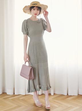 ぺチコート付き透かし編み半袖ニットワンピース