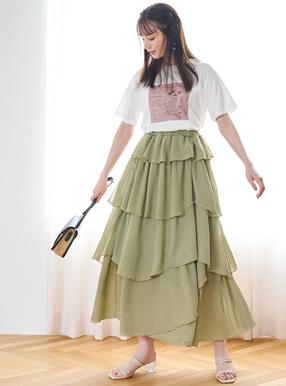 シフォンティアードスカート