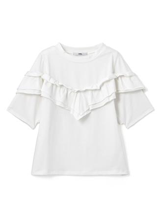 ティアードフリルクルーネックTシャツ
