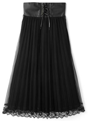 コルセットチュールレースプリーツスカート