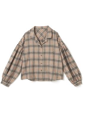 チェック開襟シャツ