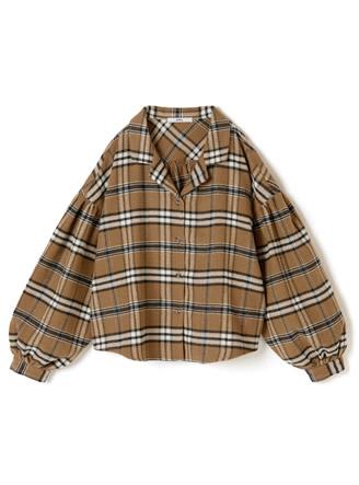 開き襟チェックシャツ