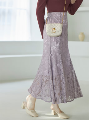 花柄レースマーメイドスカート