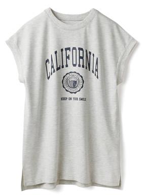 カレッジロゴフレンチスリーブサイドスリットTシャツ