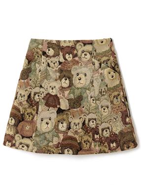 クマ柄台形ミニスカート