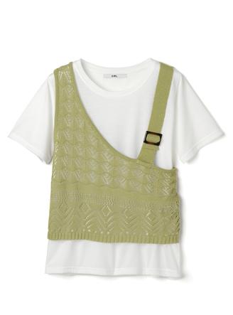 透かし編みアシンメトリーデザインベストXTシャツセット