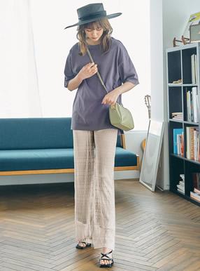 透かし編みニットワイドパンツ