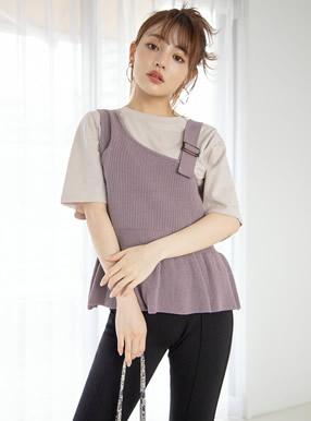 ペプラムニットビスチェXTシャツセット