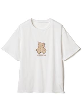 ボア刺繍くま付きTシャツ