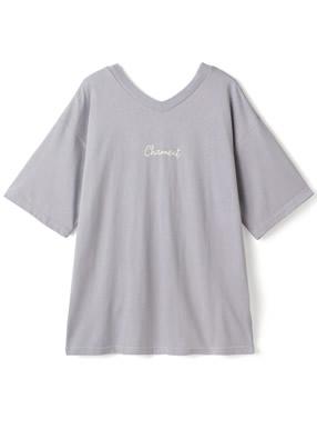前後2WayVネックロゴTシャツ