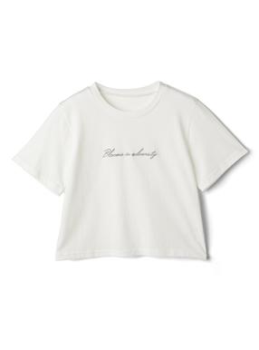 フロントロゴ刺繍ショート丈Tシャツ