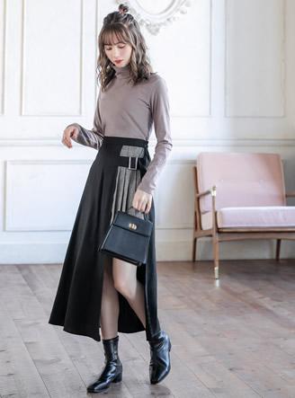 グレンチェックプリーツスカート切り替えスカート