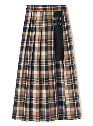 レイヤードベルトデザインチェックプリーツスカート