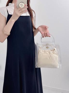 2Way巾着付きミニハンドバッグ