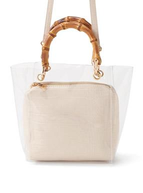 2Wayクロコダイル柄ポーチ付きバンブーハンドルクリアバッグ