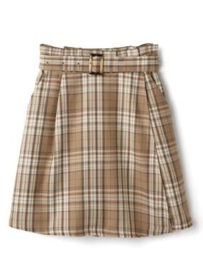 ベルト付きチェック柄ラップスカート風キュロットパンツ