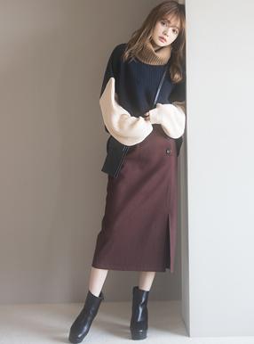 フラノラップ風ボタンタイトスカート
