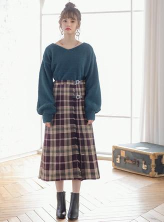 ラップデザインチェックフリンジスカート