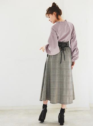 グレンチェックバックレースアップスカート
