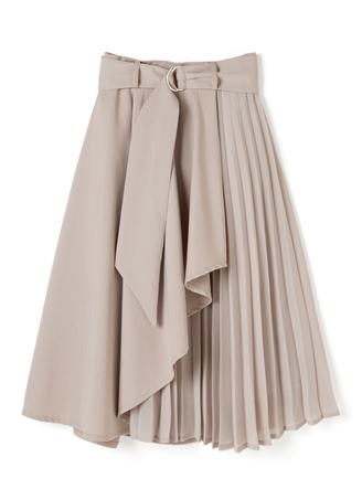 ベルト付きサイドプリーツフロントドレープスカート