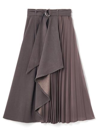 ベルト付きドレープXプリーツスカート