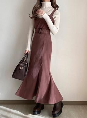 ベルト付きシャーリングマーメイドスエードジャンパースカート