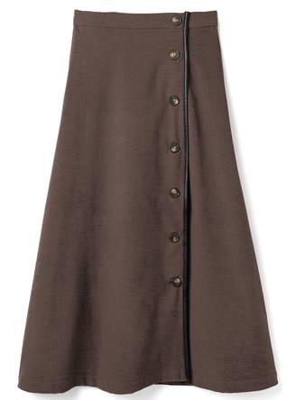 スエードレザーパイピングフレアスカート