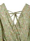 フレアスリーブ花柄カシュクールワンピース