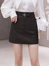 ベルト・インパン付きレザー台形ミニスカート