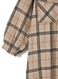 胸ポケットチェックシャツワンピースジャケット