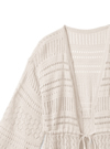 リボンベルト付き透かし編みロングカーディガン