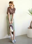 レザー編みフラットサンダル