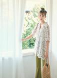 オープンカラー花柄ビッグシャツ
