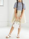 【キッズ】異素材配色メロウフロントロゴ刺繍ワンピース