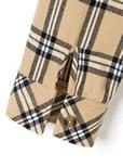 開き襟ツイルチェックシャツ