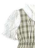 フラワー刺繍チュール切り替えリボンタイブラウスXチェックビスチェアンサンブル